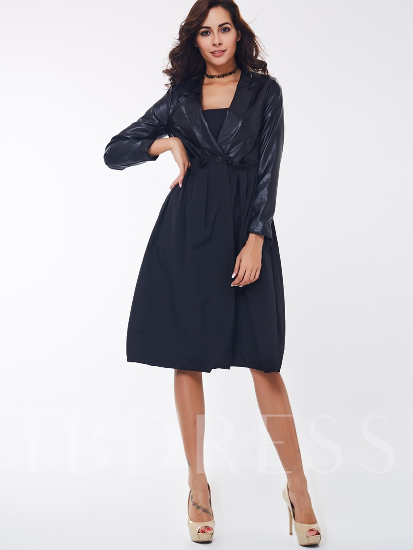Solid Color Peplum Long Sleeve Women's Trench Coat