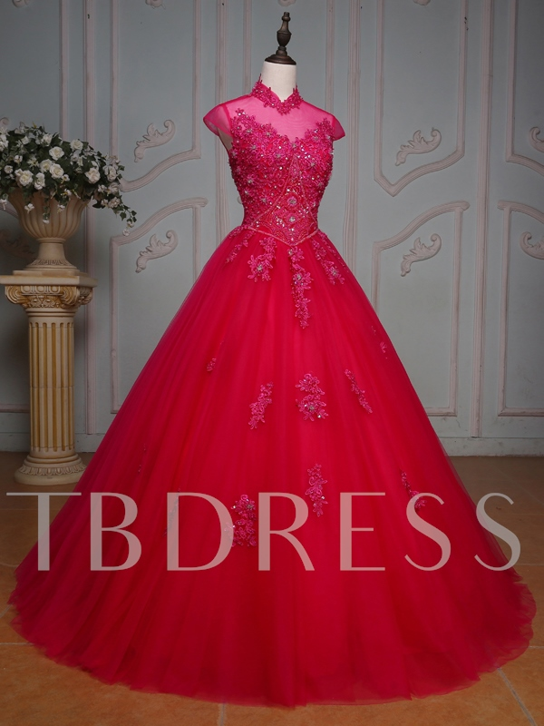 Appliques Beaded Rhinestone Long Quinceanera Dress