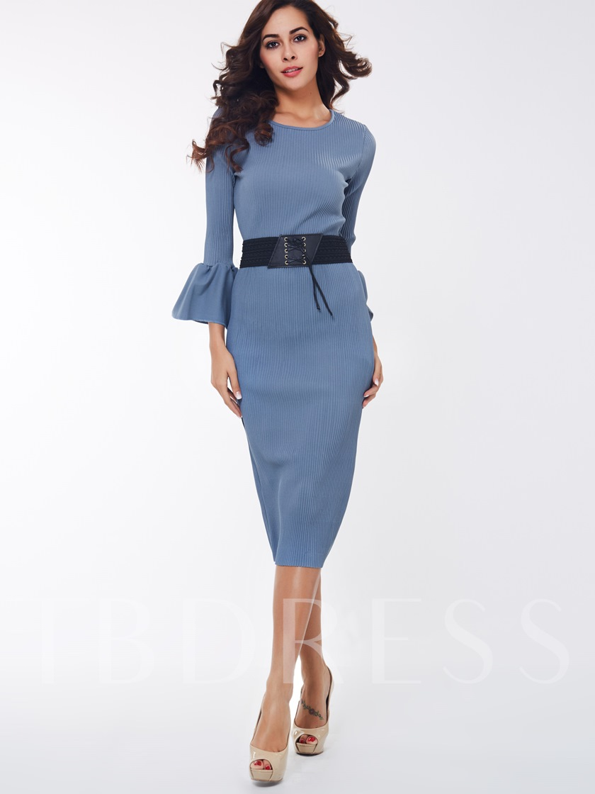 Blue Round Neck Belt Women\'s Skirt Suit - Tbdress.com
