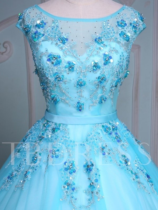 Appliques Rhinestone Sequins Blue Quinceanera Dress