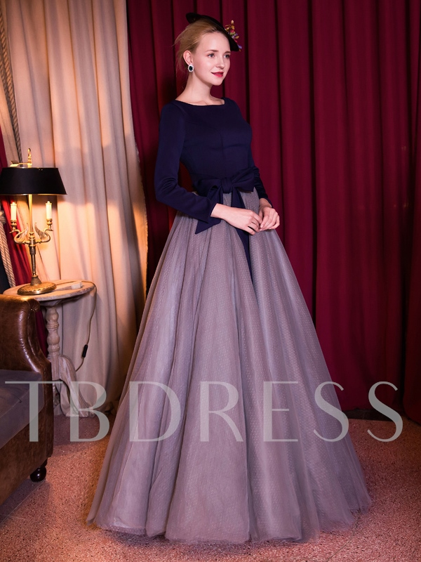 Bateau Ball Gown 3/4 Length Sleeves Bowknot Sashes Floor-Length Quinceanera Dress