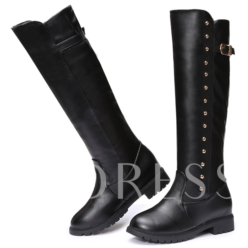 Square Heel Round Toe Buckle Women's Knee-High Boots