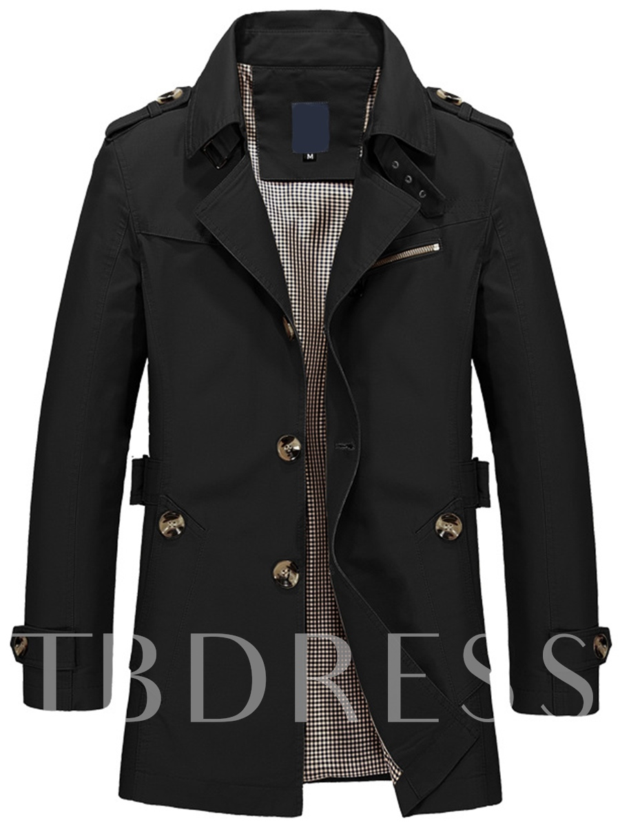 Buy Solid Color Notched Lapel Single-Breasted Men's Coat, Fall, 12422838 for $35.99 in TBDress store
