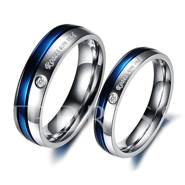 Blue Letters Print Rhinestone Lover's Rings(Price For A Pair)