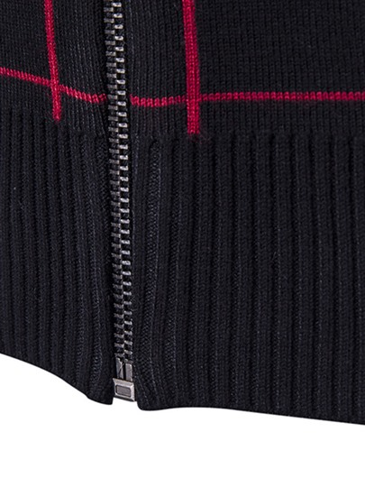 Stand Collar Plaid Zip Front Men's Casual Sweater