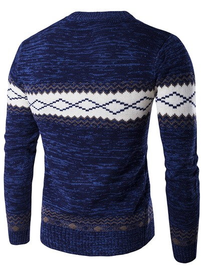 Color Block Round Neck Cotton Blends Men's Sweater
