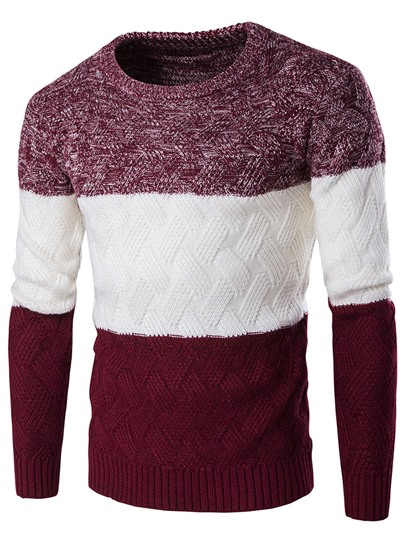 round neck patchwork slim mens casual sweater