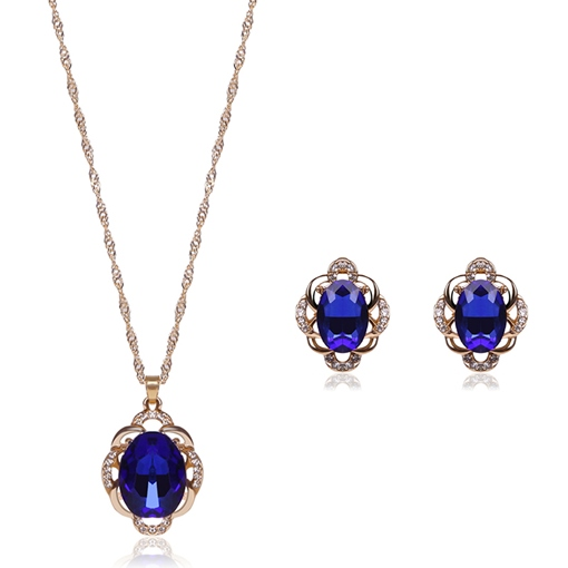 Blue Rhinestone Flower Shaped Jewelry Set