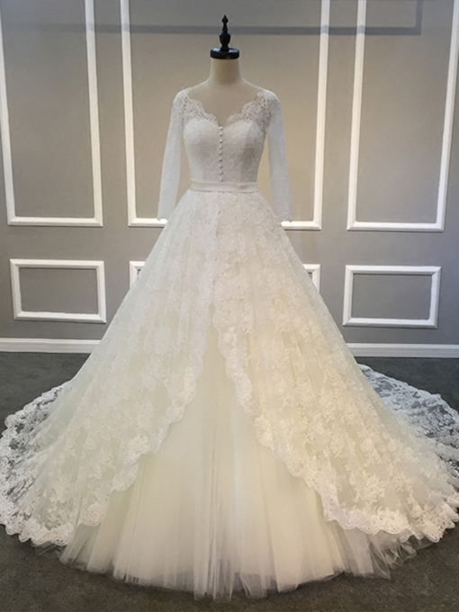 Buttoned Lace Long Sleeve Wedding Dress