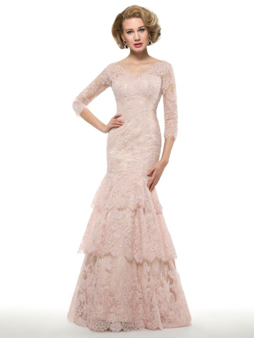 Mermaid Lace Mother of the Bride Dress with Sleeves
