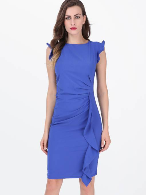 Blue Falbala Ruffle Women's Sheath Dress (Plus Size Available)