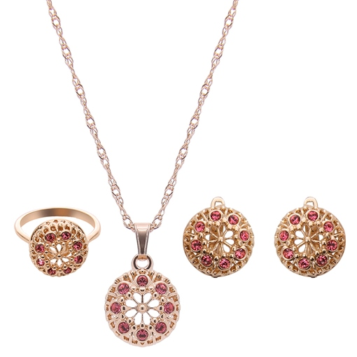 Gold Spherical Three Pieces Jewelry Set