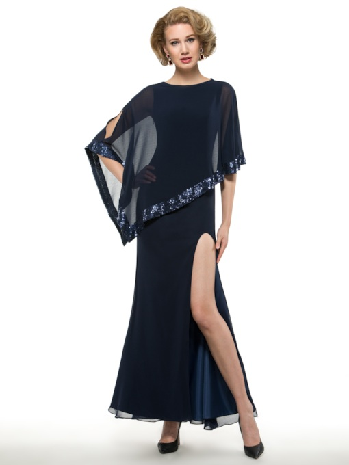 Split-Front Mother of the Bride Dress with Sequins Cape