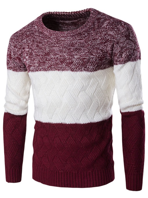 Round Neck Patchwork Slim Men's Casual Sweater