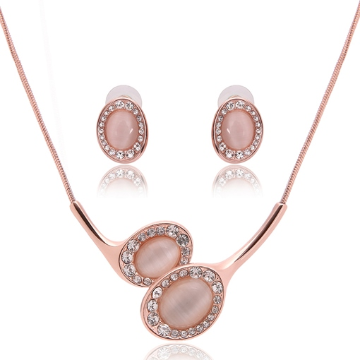 Pink Rhinestone Inlaid Two Pieces Jewelry Set