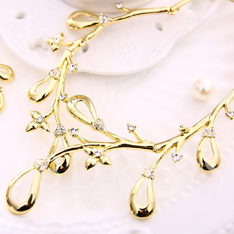 Gold E-Plating Diamante Jewelry Set