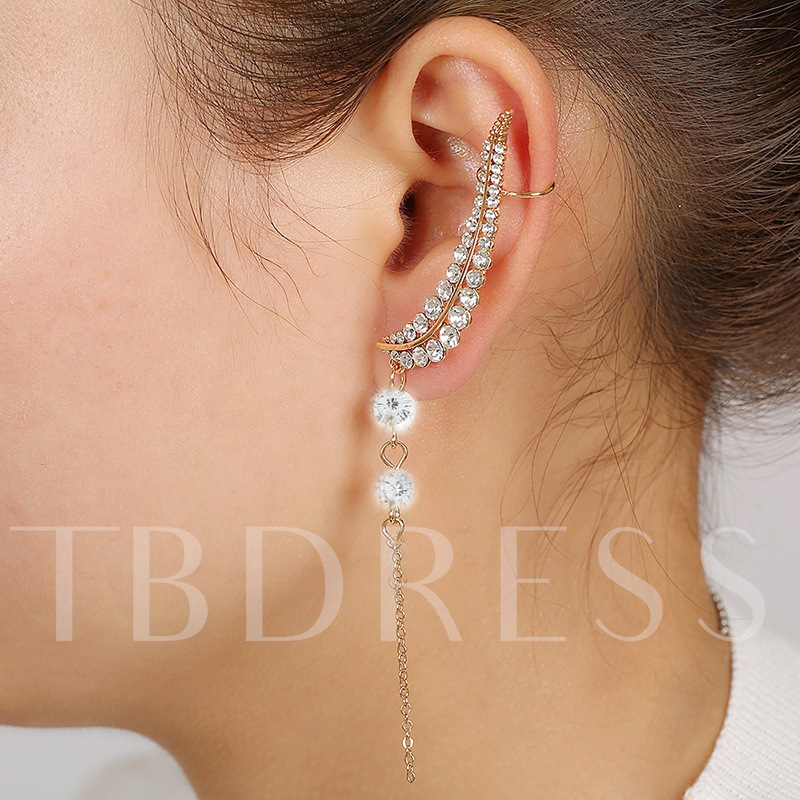 Full Rhinestone Chain Tassel Ear Cuff