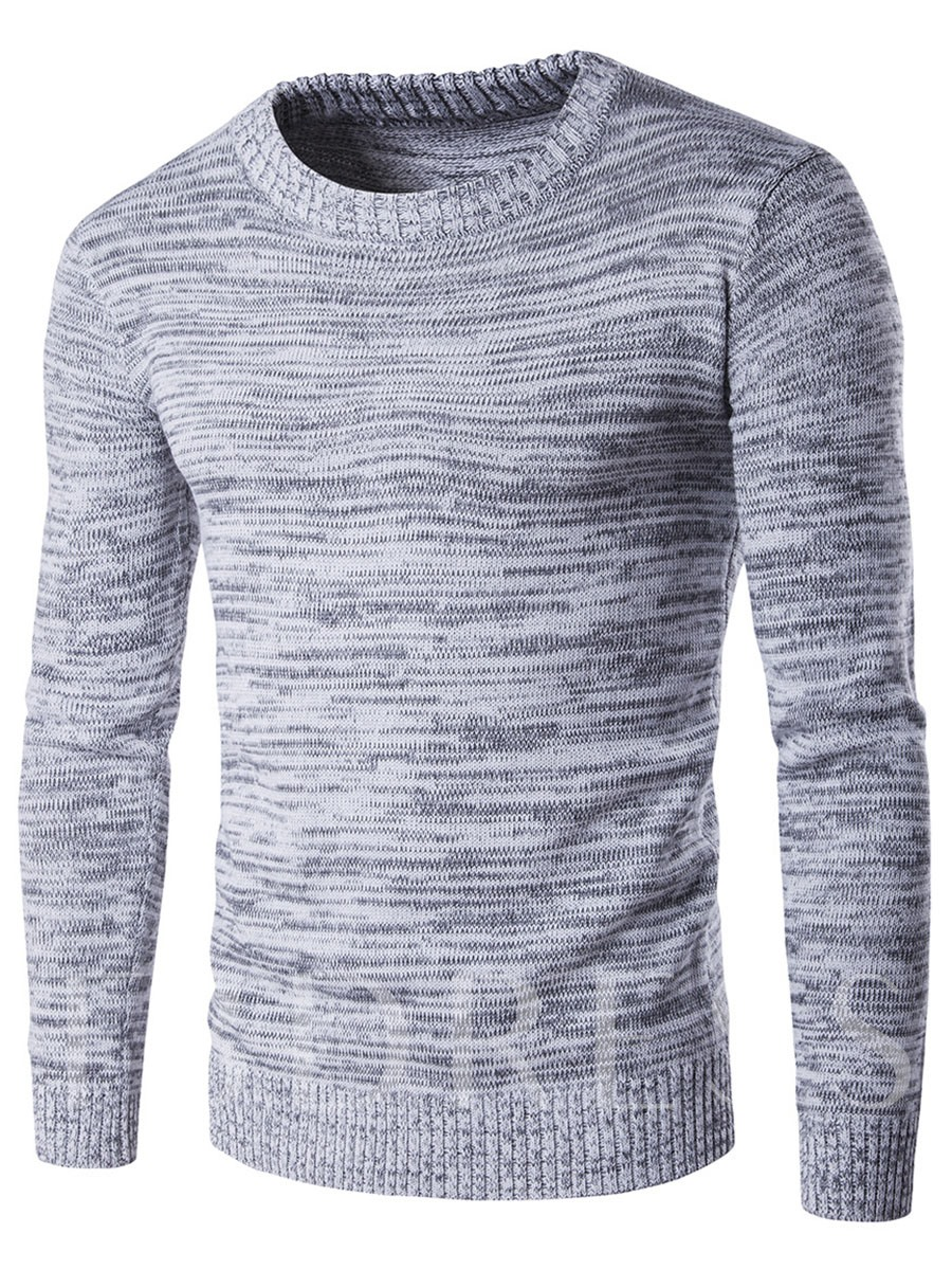 Cotton Blends Round Neck Long Sleeve Men's Sweater, Spring,Fall, 12439765