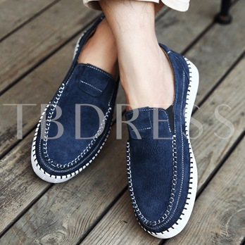 Nubuck Leather Round Toe Casual Slip-On Men's Loafers