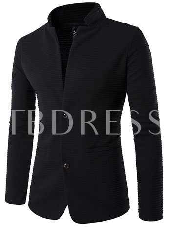 Patchwork Stand Collar Two Button Slim Men's Casual Blazer