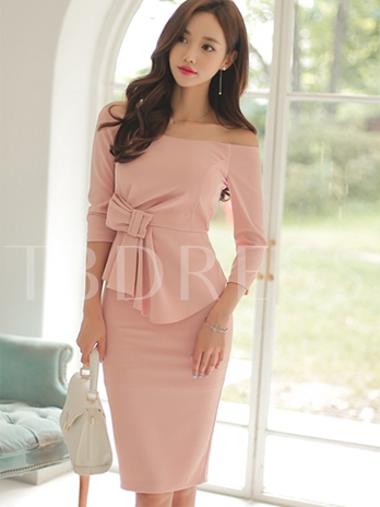 Off The Shoulder Plain Women's Sheath Dress