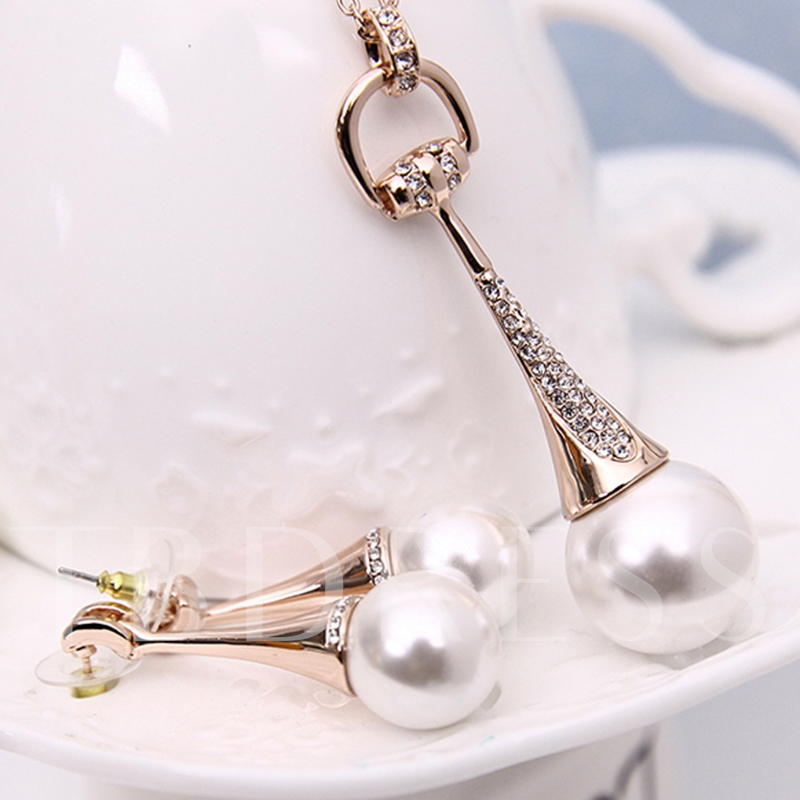 White Pearl Inlaid Two Pieces Jewelry Set