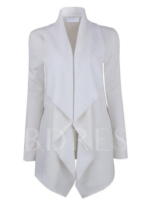 Frill Lapel Falbala Patchwork Slim Women's Overcoat