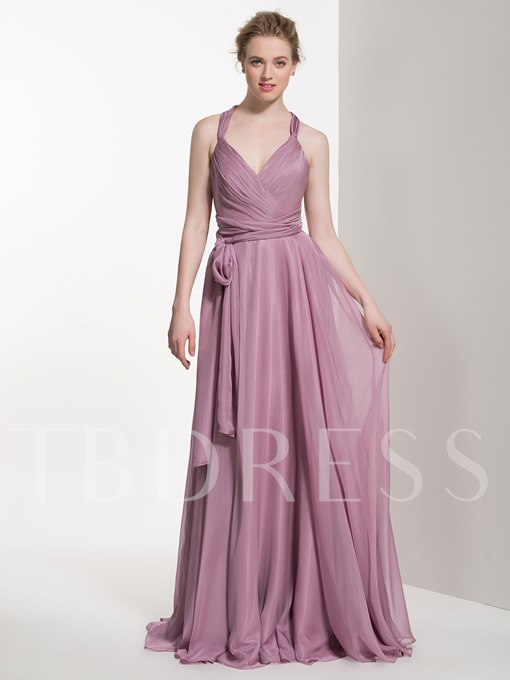 Cute Straps Ruched Floor-Length A-Line Bridesmaid Dress