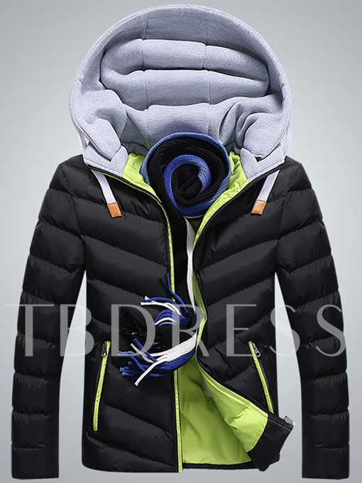 Color Block Hooded Zipper Men's Down Coat