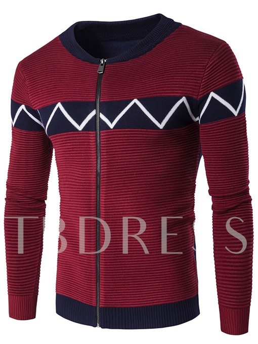 Color Block Stand Collar Zip Front Men's Casual Sweater