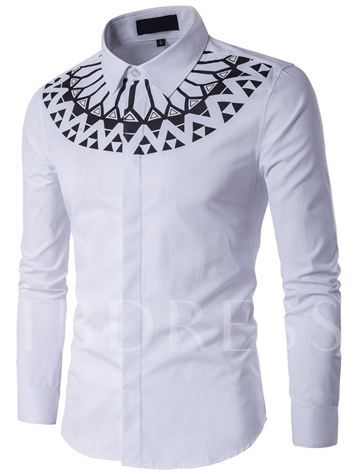 Cotton Blends Geometric Print Men's Long Sleeve Shirt