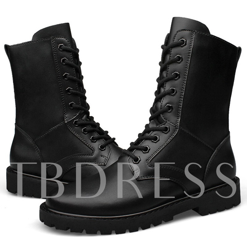 Round Toe Square Low Heel Ankle Lace-Up Men's Boots