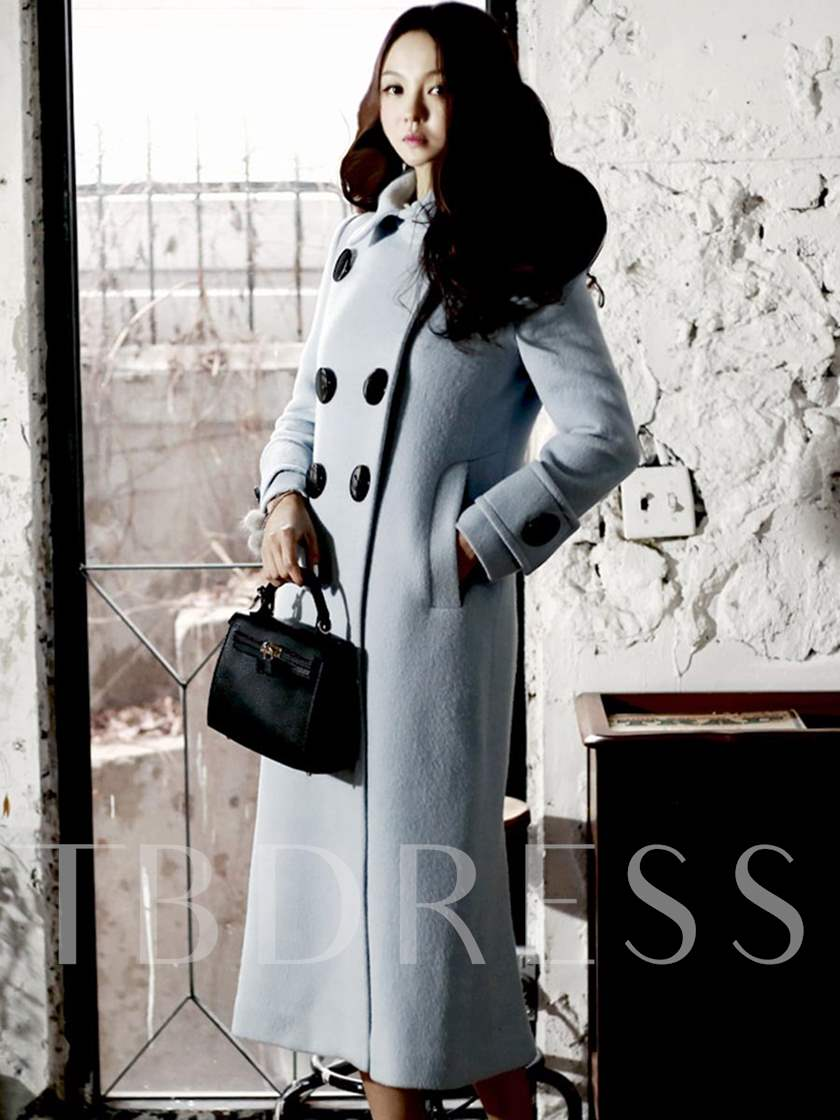 Black Big Button Lapel Women's Overcoat