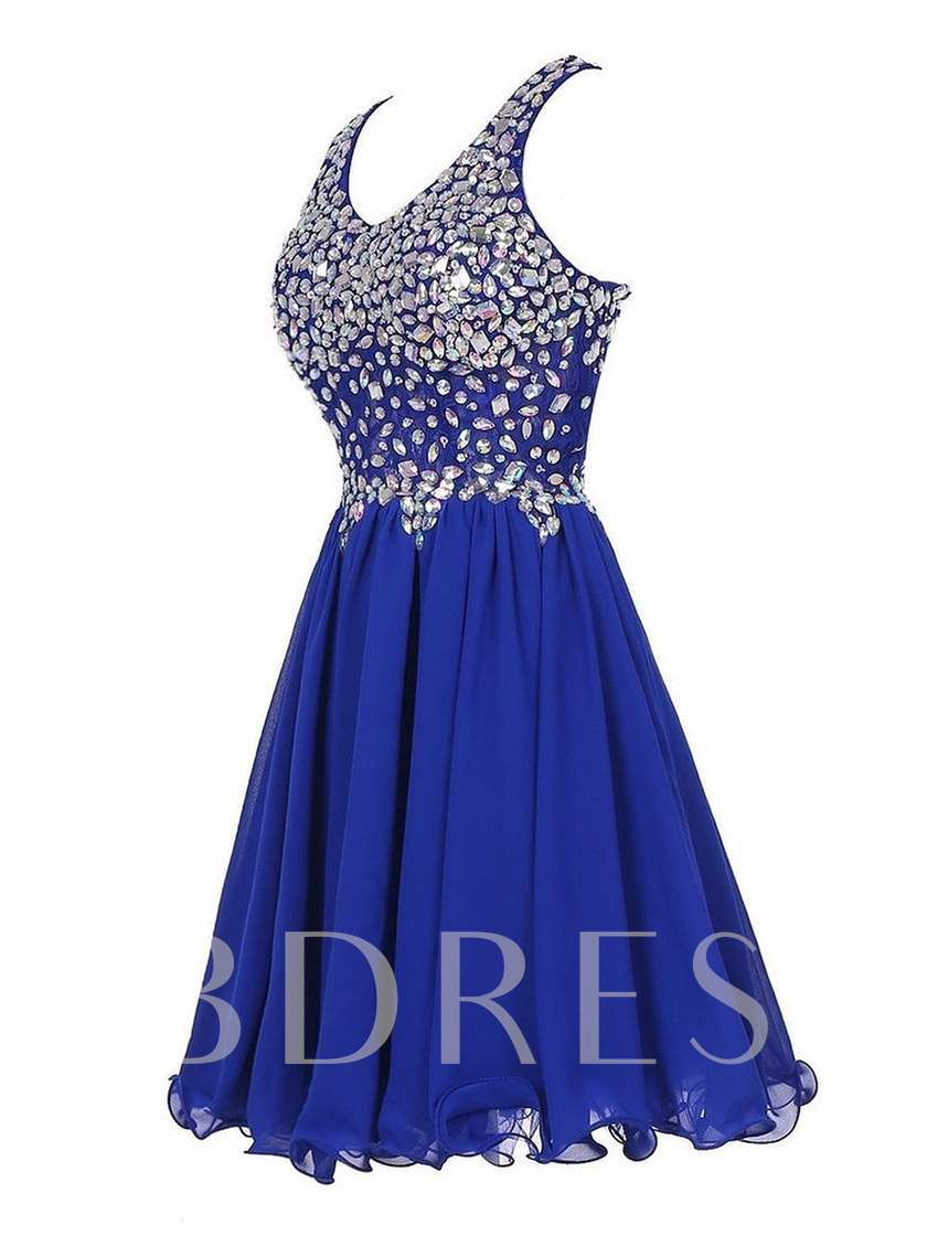 A-Line Round Neck Beaded Short Homecoming Dress