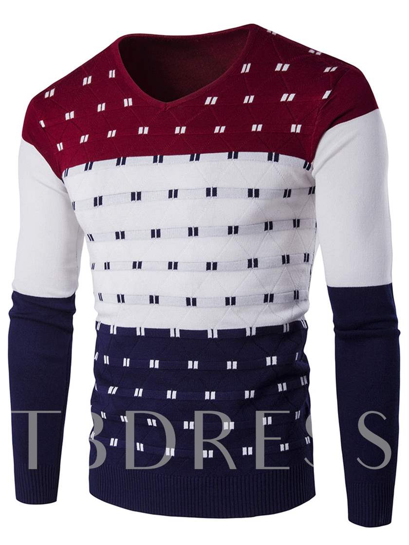 Patchwork V-neck Cotton Blends Men's Casual Sweater