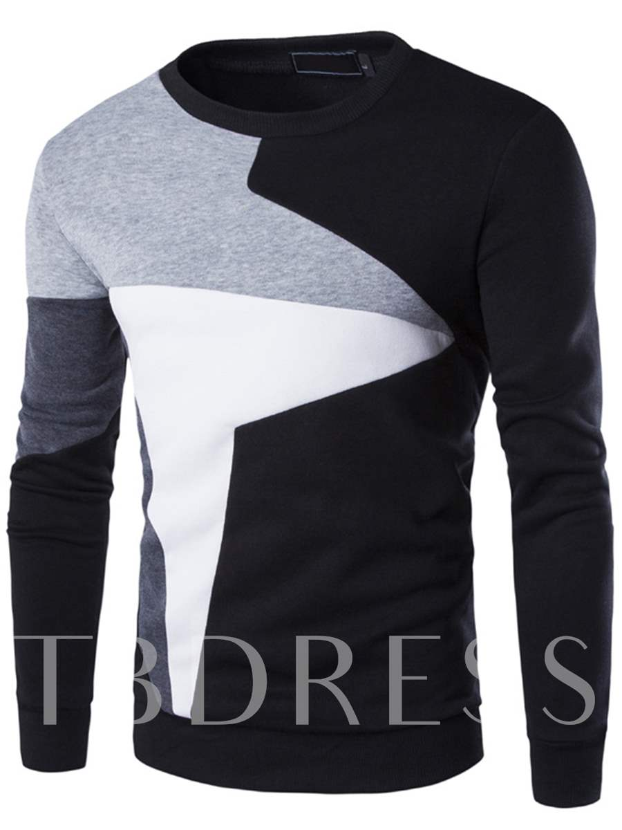 Buy Patchwork Round Neck Cotton Blends Men's Casual Hoodie, Spring,Fall, 12438541 for $21.99 in TBDress store