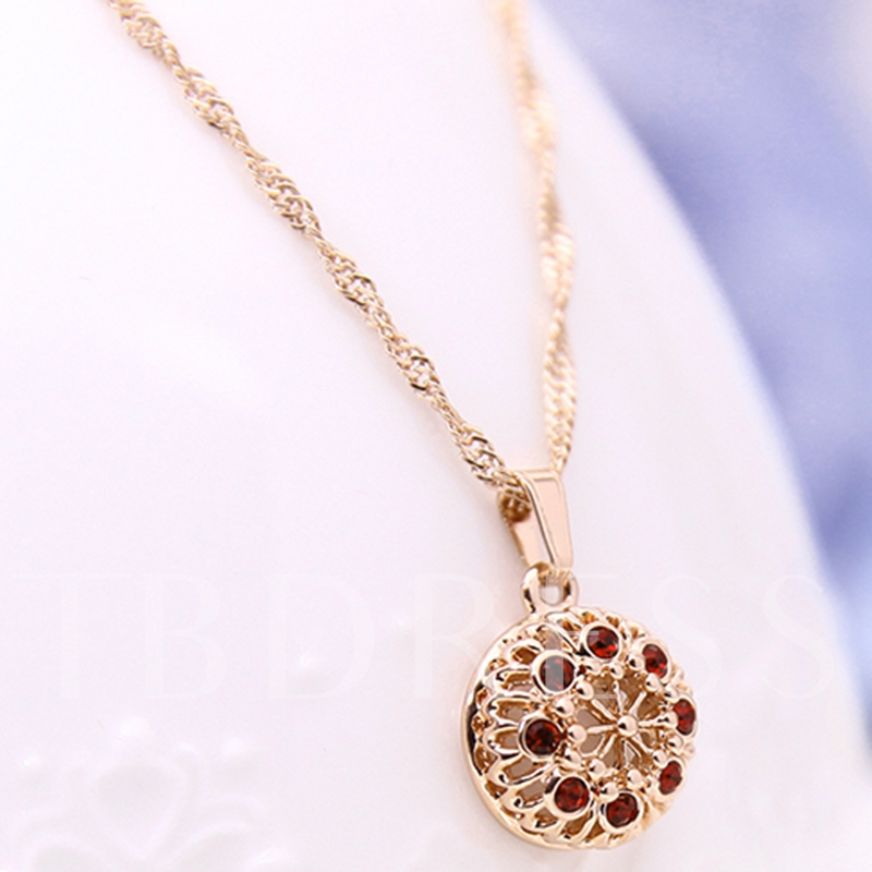 Red Rhinestone Spherical Jewelry Set
