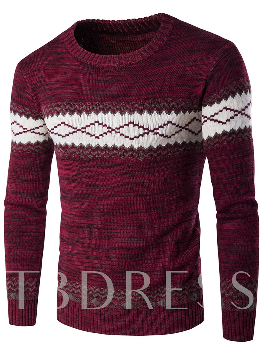 Buy Color Block Round Neck Cotton Blends Men's Sweater, Spring,Fall, 12439781 for $20.99 in TBDress store