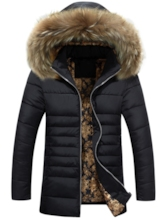 Faux Fur Midi Pattern Slim Casual Men's Down Jacket