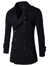 Lapel Double-Breasted Side Pocket Solid Color Slim Fit Men's Woolen Coat