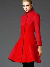 Fashion Solid Color Stand Collar Long Sleeve Women's Overcoat
