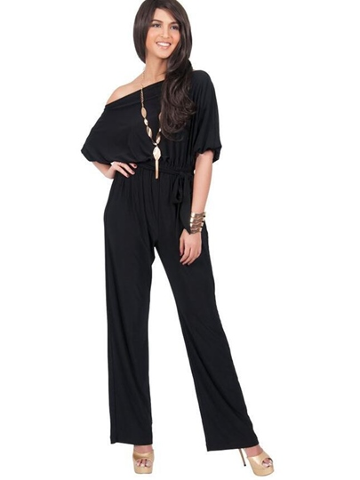 Oblique Collar Pure Color Lace-Up Women's Jumpsuit