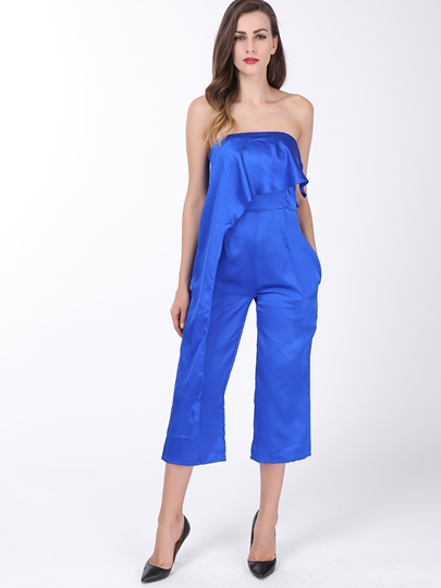Blue Chiffon Wide Leg Strapless Women's Jumpsuit