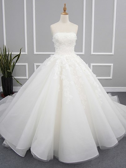 Strapless Appliques Ball Gown Wedding Dress