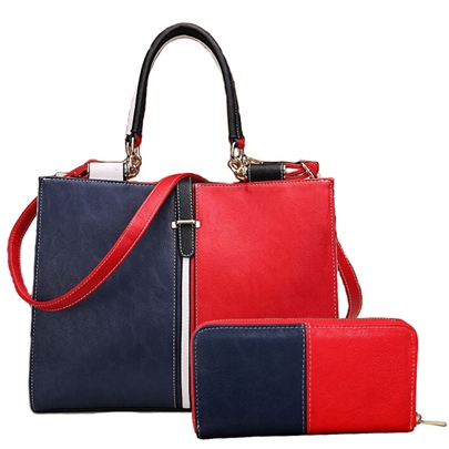 Stereotype Color Block Thread Decorated Bag Sets