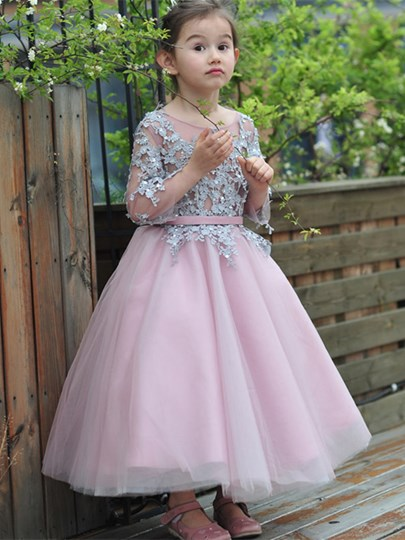 Scoop Neck 3/4-Length Sleeves Ankle-Length Flower Girl Dress