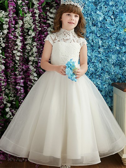 High Neck Short Sleeves Lace A-Line Flower Girl Dress