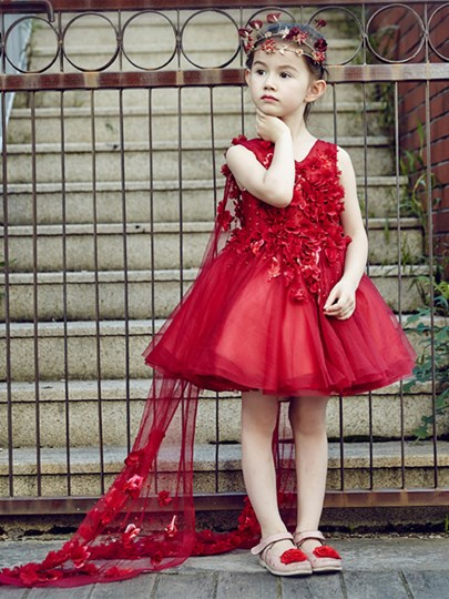 V-Neck Beading Lace-Up Knee-Length Flower Girl Dress