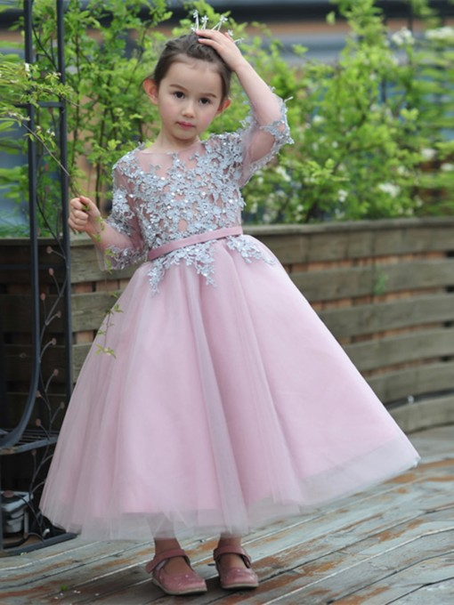 Appliques Sleeves Ankle-Length Flower Girl Dress