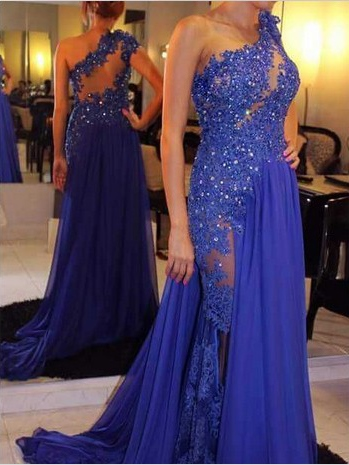 One Shoulder Hollow Appliques Beaded Evening Dress